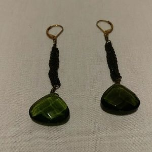 Faceted green stone dangle earrings